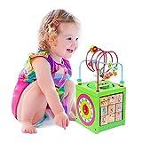 BeebeeRun Cubo di attività in Legno 6 in 1 Labirinto per Bambini Giocattolo educativo Giocattolo in Legno Regalo per Bambini e Ragazzi (Verde)