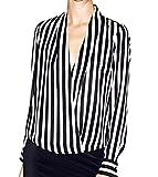 WOZNLOYE Damen Herbst Schwarz Weiss Gestreifte Tief V Ausschnitt Reizvolle Shirt Langarm Casual Club Loose Chiffon Oberteile Bluse Hemd (EU38(L), Schwarz)