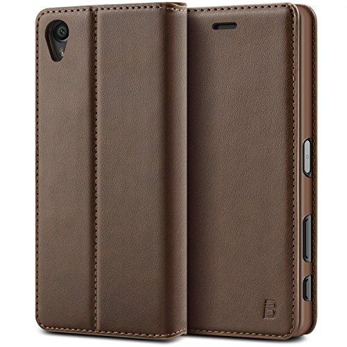 BEZ® Sony Xperia X Hülle, Handyhülle Kompatibel für Sony Xperia X Tasche, Flip Case Cover Schutzhüllen aus Klappetui mit Kreditkartenhaltern, Ständer, Magnetverschlus - Braun