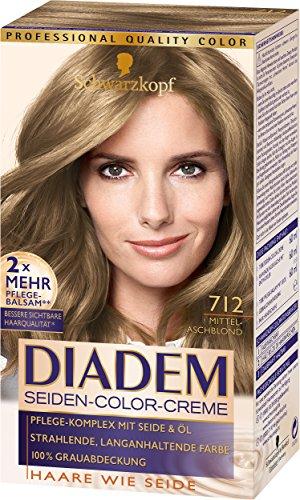 Schwarzkopf Diadem Seiden-Color-Creme, 712 Mittelaschblond Stufe 3, 3er Pack (3 x 180 ml)