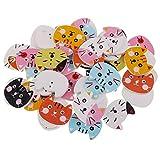 MagiDeal 50er Set Holzknöpfe 2-Löcher Kinderknöpfe Katze Bär Deko-Knöpfe Bastelknöpfe für Nähen Scrapbooking Verzierung - Katze Form