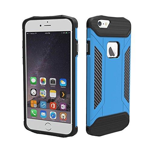Phone case & Hülle Für iPhone 6 / 6s, TPU + PC Stahl Rüstung Kombination Fall ( Color : Black ) Blue