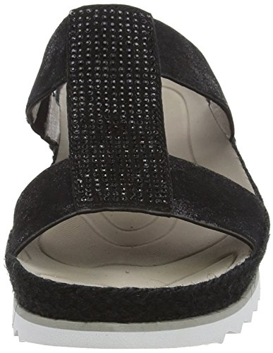 Gabor Hooch, Sandales femme Noir - Black (Black Metallic Leather/Suede)