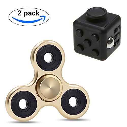 KAIHONG Stresswürfel wie Fidget Cube/Fidget Spinner Fidget Toys Hand Spinner Finger Spielzeug für Kinder und Erwachsene Spielzeug Geschenke,Anxiety, and Autism Adult Children (2 Stück, golden/Stresswürfel Cube)