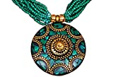 #9: Purpledip Beaded Necklace with Mosaic Work Brass pendant and beads earrings (30017)