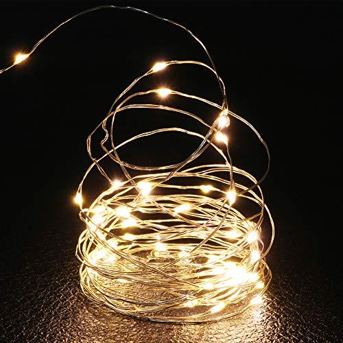 ED Lichterkette, lang 5 M /16.5 ft, Micro Kupferdraht AA Batterie betrieb, für Festival, Party, Korridor Bäume, Warm-weiß, Außenbeleuchtung [Energieklasse A+] ()