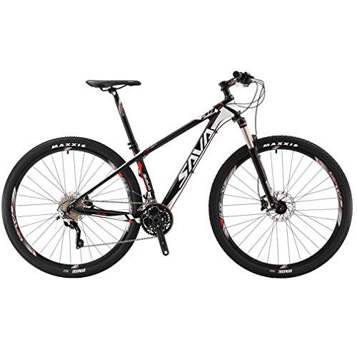 SAVA DECK 300 27.5 '/ 29' Fibra Di Carbonio Mountain Bike 30-Velocità Shimano M610 Disco Di Coda SR SUNTOUR Forcella Mountain Bike Maxxis Pneumatici (Nero & Bianco, 29')
