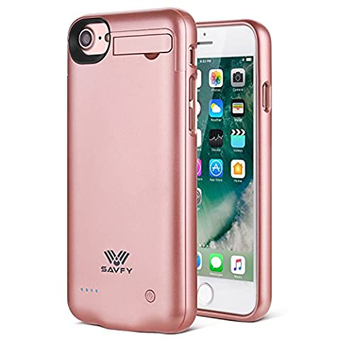 SAVFY iPhone 7 Akku Hülle 3000mAh Ultra Dünne Zusatzakku iPhone 7 Externe Batterie Backup Case 4,7 Zoll Roségold