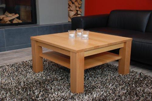 Holz-Projekt-Summer Couchtisch 80x80 cm mit Ablage/Buche/Echtholz/Massivholz/Höhe 42 cm