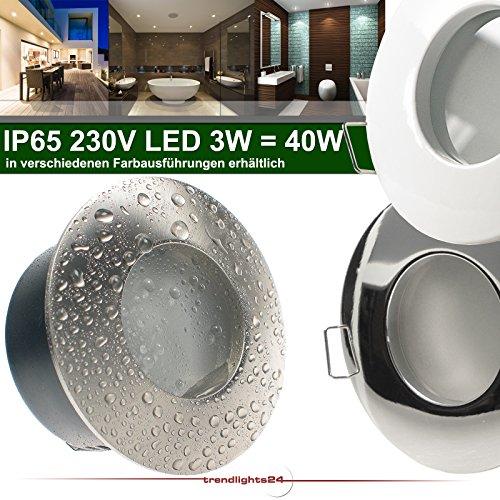 9er Set (6-10er Sets) Decken Einbaustrahler Bad NAUTIC IP65 rund 230V WEISS; COB LED 3W = 40W; Warm-Weiß; Einbauleuchte für Feuchtraum + Außen