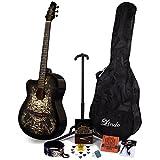 Lindo 933C Alien Noir pour gaucher Guitare acoustique & Pack accessoires complet (Housse de transport, pied, cordes, sangle, 10médiators, DVD, accordeur à clipser)