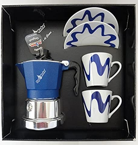 Top Moka - Top Stove Top Espresso Coffee Maker Set - with Cup and Saucer - 1 Cup - Blue/Silver - 2 Cups