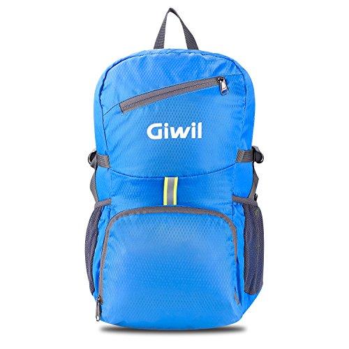 Giwil Leichter Faltbarer Rucksack 30L Wanderrucksack Ultraleicht Reiserucksack Outdoor Wandern Camping Rucksack Tagesrucksack für Männer Frauen und Kinder Blau