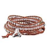 C.QUAN CHI Achat Labradorit Semi Edelstein Layered Armband Leder Wrap Strang Perlen Armreif Geschenk für Frauen