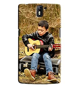 Blue Throat Boy Playing Guitar Hard Plastic Printed Back Cover/Case For OnePlus One