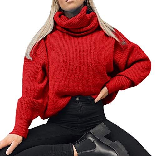 Splrit-MAN Damen Strickpullover Sweater Rollkragen Pullover Kuscheliger Jumper Strick Pulli Oversize Langarm Strickpulli Stricksweatshirt Herbst Winter Warm Pulli Stricksweat Sweatshirt (Baby-air Jordan Outfits)