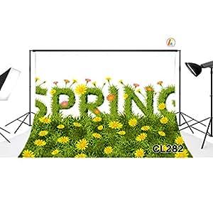 LOVE-BABY Vinyl sottile Fotografia Primavera Fondali erba e fiori Sfondo 7x5ft / 210x150cm puntelli foto per Studio / partito / decorazioni CL282
