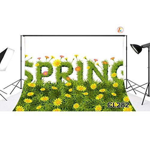 LOVE-BABY Vinyl sottile Fotografia Primavera Fondali erba e fiori Sfondo 7x5ft / 210x150cm puntelli foto per Studio / partito / decorazioni