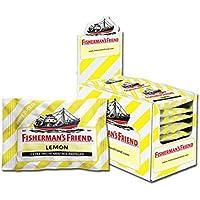 Fisherman's Friend Lemon   Karton mit 24 Beuteln   Zitrone und Menthol Geschmack   Zuckerfrei für frischen Atem