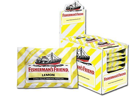 Fisherman\'s Friend Lemon | Karton mit 24 Beuteln | Zitrone und Menthol Geschmack | Zuckerfrei für frischen Atem