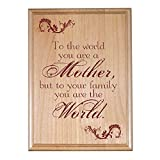 #3: YaYa cafe My Mother My World Engraved Wooden Plaque for Mothers day gifts- 9x12 inches