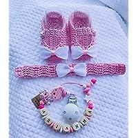 Set neonata   catenella portaciuccio con nome   fascia per capelli uncinetto   scarpine 0/12 mesi con fiocco   ilnodocreativo