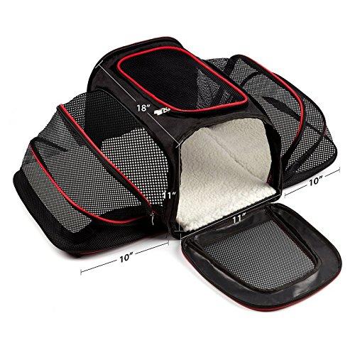 Transporttasche für Haustiere transportbox hunde im auto faltbar flugzeug günstig gulliver schwarz Bequeme Zweiseitige und Erweiterbare Faltbare Haustiertrage, Weiches Haustierbett (Bequeme Schwarz)