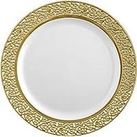 Decorline- Vaisselle de luxe à usage unique- Blanc avec bord en dentelle en Or-plastique rigid-Party-Jetable (Assiette 26cm)