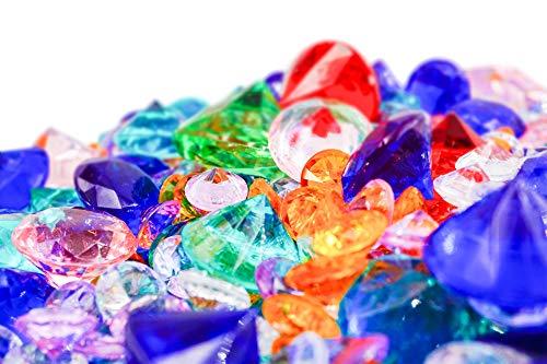 Brynnberg Dekosteine Diamanten Mix - Größe 10-30mm - Farben: Blau, Grün, Rot, Rose, Orange, Farblos - Gewicht: 400g