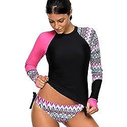 KamiraCoco Protection Anti-UV Femme Maillot de Bain 2 Pièces Bikini-Set avec Shorty Combinaison de Plongée (XXXL (EUR 44-46), Rose Noir)