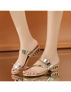 Semplice Crystal Sandali Pantofole Prezioso Lady 1-3Cm,Golden,Eu35