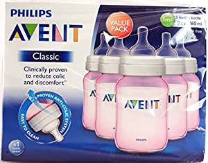 Philips Avent Pink Bottles 9 Oz (5 Pack) Extra Soft 2 Hole 1m+
