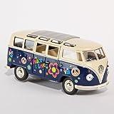 VW Bulli Bus blau Hippi 1:24 Volkswagen Microbus Modellauto