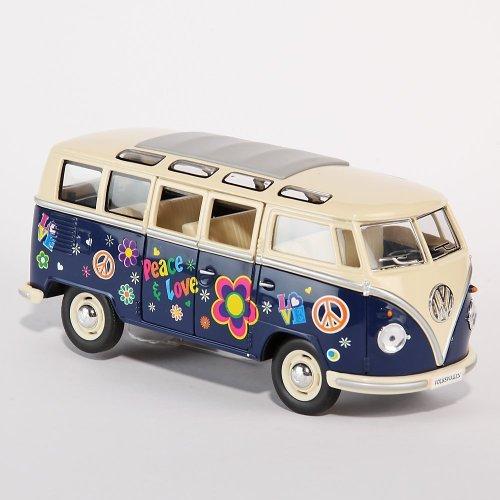 Kinsmart modellino del minibus vw bulli bus, di colore blu, in stile hippie, in scala 1:24