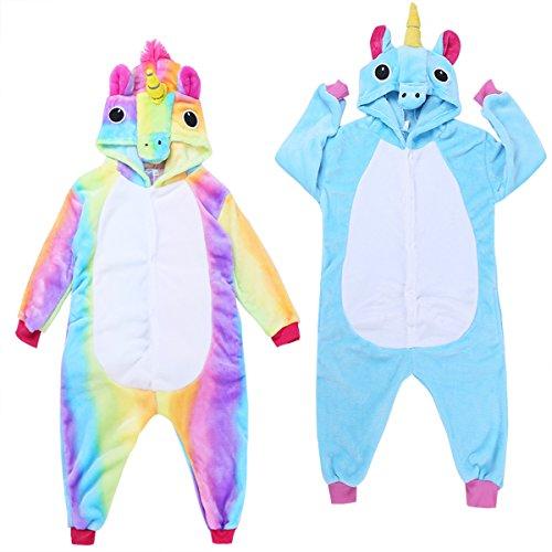 4c0877b6a8d iEFiEL Pijama Divertido para Niño Niña Unisex Disfraces de Unicornio Animal Mono  Pijama con Capacha Invierno Otoño Confortable Calentito