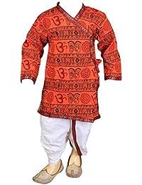 FOCIL Orange Om Printed Dhoti Kurta Pant Set For Kids