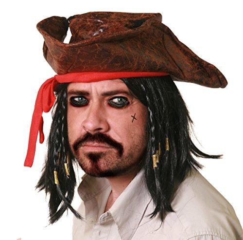 Karibik Disney Kostüm Der Piraten - ILOVEFANCYDRESS Piraten Hut Set ERHALTBAR MIT VERSCHIEDENEM ZUBEHÖR -EINFACH EIN KNALLER FÜR Jede Party -DER BERÜHMTE Pirat AUS Film UND FERNSEHN = Hut UND PERÜCKE