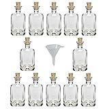 Viva Haushaltswaren - 12 x Mini Apothekerflasche 40 ml, kleine Glasflaschen mit Korken als Likörflasche / Laborflasche / Schnapsflasche etc. verwendbar (inkl. Trichter Ø 5 cm)