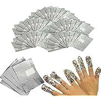 Hard Bone Pantalla Nail Wraps Remover, Esmalte de uñas Eliminador Pantalla Wrap de 100pcs (Slivery) 7.5x9.5cm Plata