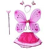 BESTOYARD 4 stücke Schmetterling Kostüm Set Tutu Rock Schmetterlingsflügel mit Schmetterling Stirnband und Fee Zauberstab für Kinder Mädchen Party Leistung Kostüm Gefälligkeiten (Rose rot)