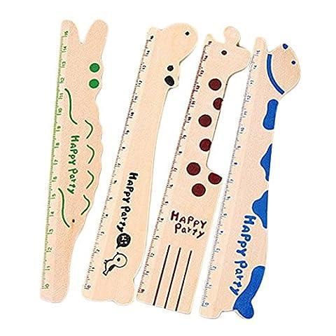 CAOLATOR 4 Stück Holz Nette Art Lineal Cartoon Kreative Holzlineal Umweltschutz Meng Tier Herrscher Briefpapier (Grünes Krokodil, Schwarz Nilpferd, Blau Dichtungen, Kaffee Giraffe)
