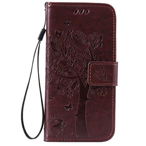 DaYiYang Case Cover IPhone 6 6s Kasten, Normallack-erstklassiger PU-lederner Fall-prägenmuster-Schlag-Standplatz-Fall-Abdeckung mit Karten- und Bargeldschlitzen für iPhone 6 6s 4,7 Zoll ( Color : Rose Brown