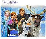 alles-meine.de GmbH 3-D Effekt __ Unterlage -  Disney die Eiskönigin - Frozen  - Incl. Name - al..
