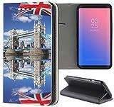 Samsung Galaxy S4 / S4 Neo Hülle Premium Smart Einseitig Flipcover Hülle Samsung S4 / S4 Neo Flip Case Handyhülle Samsung S4 Motiv (470 London Tower Bridge Blau Rot)