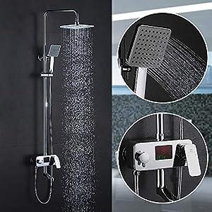 Homelody Columna de Duchas con LCD Pantalla Hidroeléctrica Columna Hidromasaje Ducha Set Ducha con Grifo Agua Fría y…