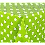 WACHSTUCH TISCHDECKE Abwischbar Meterware - Größe wählbar - 200x140 cm - Glatt, Punkte Weiß/Grün *Beautex*