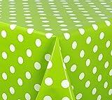 WACHSTUCH TISCHDECKE abwischbar Meterware, Größe wählbar, 240x140 cm, Glatt Punkte Weiß Grün