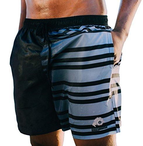 GUGGEN Mountain Herren Badeshorts Beachshorts Boardshorts Badehose Schwimmhose Männer mit Muster Print* Schwarz Weiss S