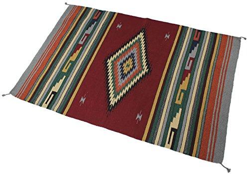 Splendid Exchange Hand Woven Acryl Southwest Bereich Teppich, 4Füße von 6Füße, Acrylbeschichtete Baumwolle, Large Diamond Maroon and Green, 4 x 6 - Maroon Baumwolle Farbe