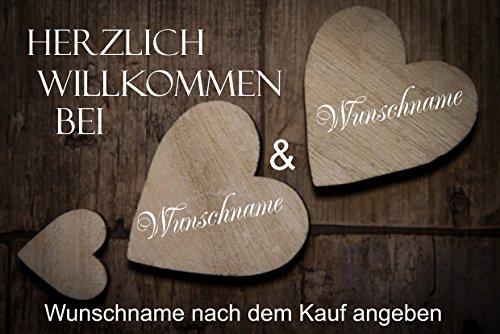 """Herzlich Willkommen (mit Wunschname) 9 \"""" - Fussmatte bedruckt Türmatte Innenmatte Schmutzmatte lustige Motivfussmatte"""